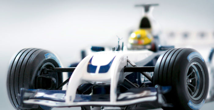 Formula 1 racing car - parts of it are made out of carbon fibers
