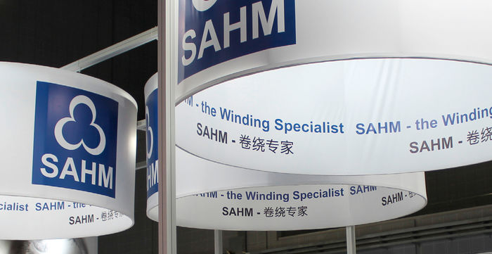 Detail photo of a SAHM booth at an exhibition