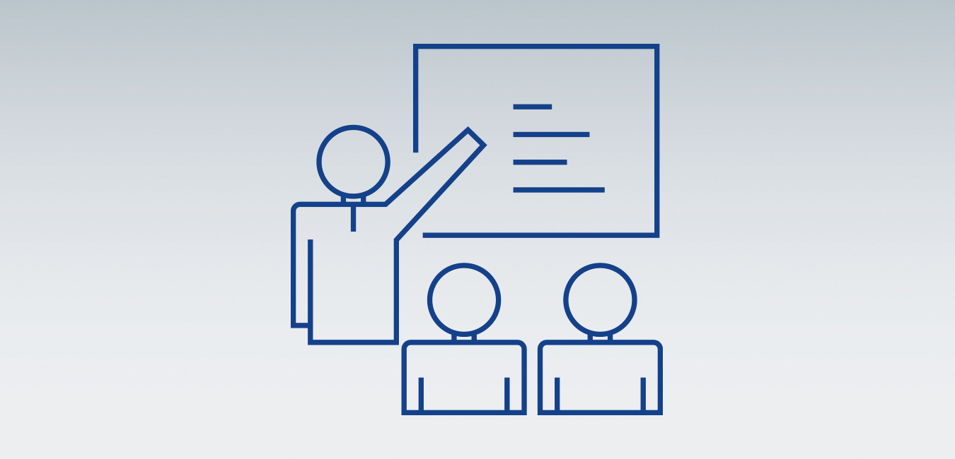 "Icon showing a training of people as representation for the topic ""Better at work"""