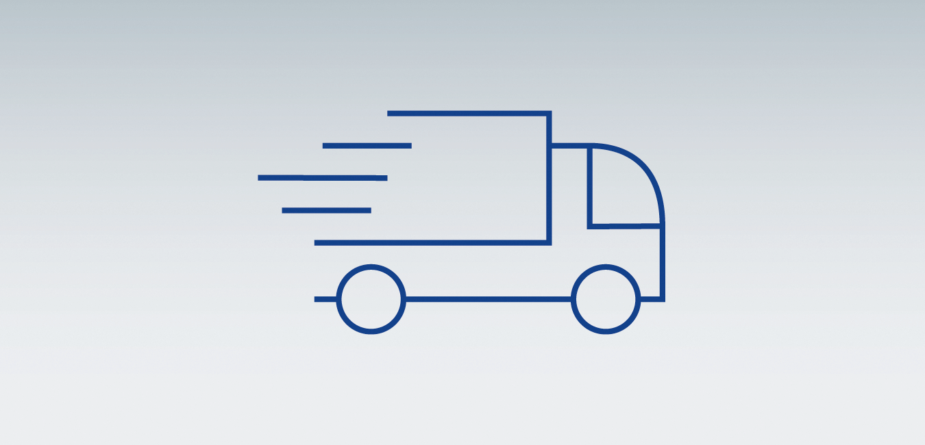 "Icon showing a truck - as graphical representatation for the topic ""On-site service - On the spot, and fast"""